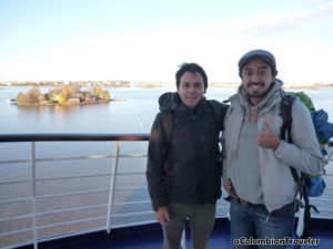 With Santiago Ramirez, Arriving to Helsinki from Stockholm